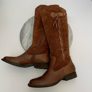 "BORN ""cook"" leather suede braided boots F29106"